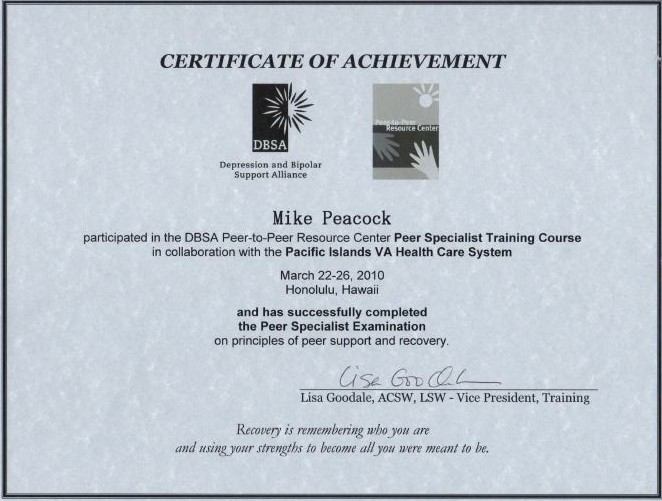 Peer Specialist Certification