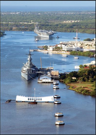 Pearl Harbor Hawaii Airiel USS Arizona View with Mighty Mo and Aircraft Carrier